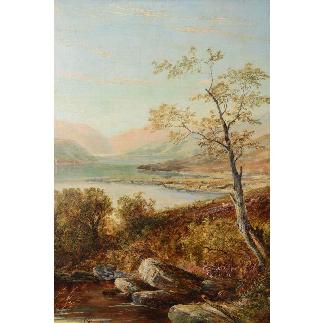 """Mid 19th Century 19th Century Oil on Board Painting, """"Loch Tyt N. B."""": Thomas Hines For Sale - Image 5 of 11"""