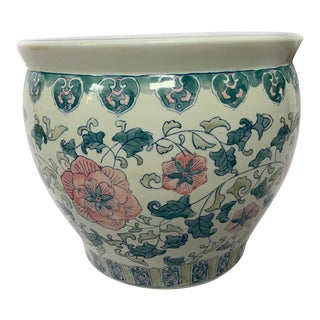 Vintage Ceramic Chinoiserie Blue White & Pink FloralFish Bowl Planter For Sale