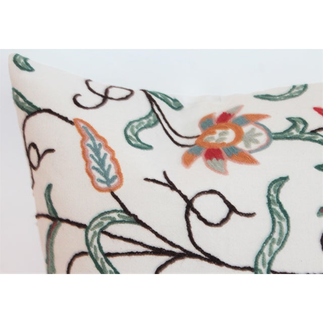 Boho Chic Crewelwork Embroidered White Pillow For Sale - Image 3 of 7