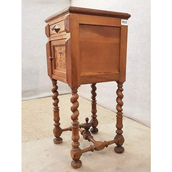 Antique French Vanity Armoire Barley Twist Stand Desk With Marble Top For Sale - Image 4 of 13