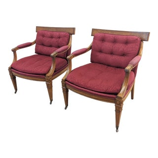 Red Regency Style Klismos Chairs - A Pair For Sale