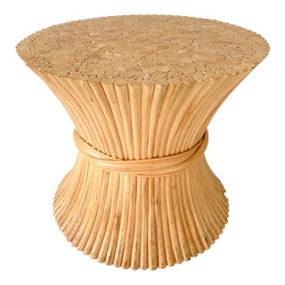 McGuire Pencil Reed of Bamboo MCM Sheaf of Wheat Side Table Pedestal For Sale
