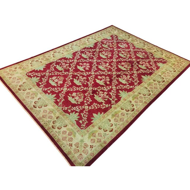 """Textile Peshawar Jacquely Red & Tan Wool Rug - 10'2"""" x 14' For Sale - Image 7 of 7"""