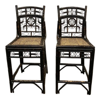 Pair of Brighton Bamboo Counter Chairs For Sale