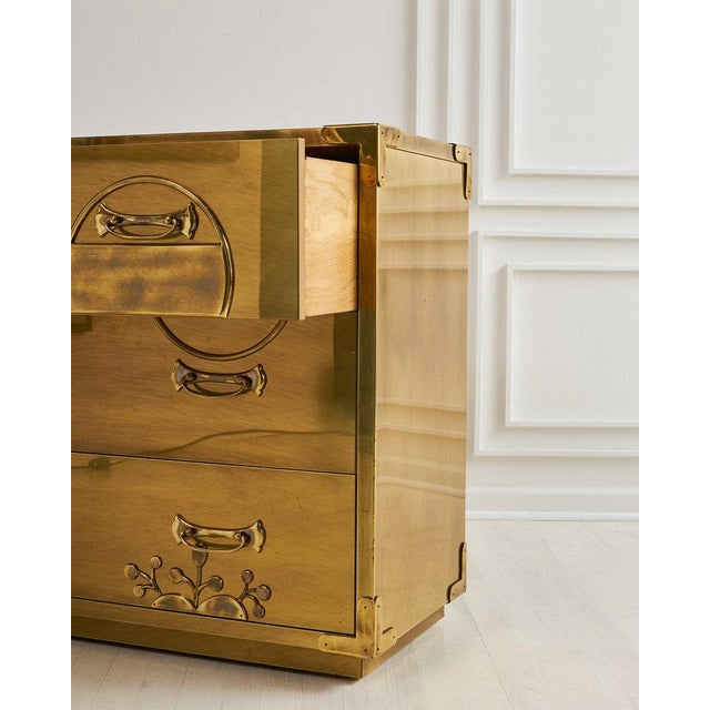 Brass Clad Three Drawer Dresser by Mastercraft For Sale In Chicago - Image 6 of 7