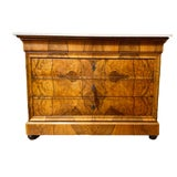 Image of Louis Phillipe Burl Wood Chest With Marble Top For Sale