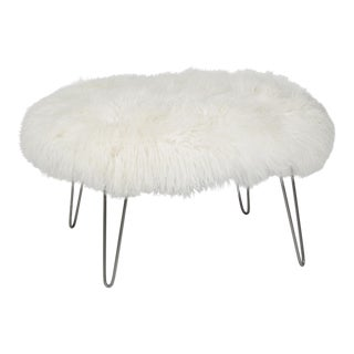 Curly Hairpin Ottoman Bright White 36 Round For Sale