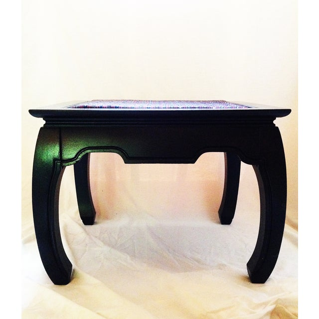 Ming-Style Side Table With Upholstered Top - Image 3 of 5