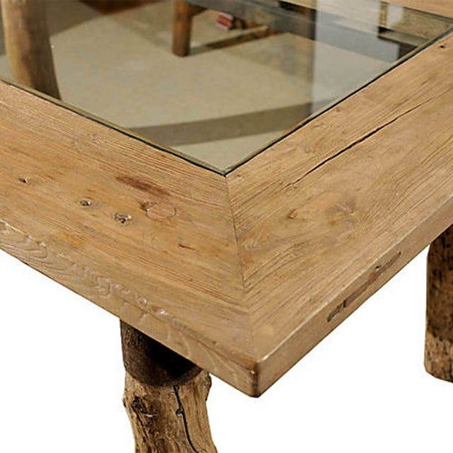 Burlwood Glasstop Dining Table For Sale - Image 4 of 6