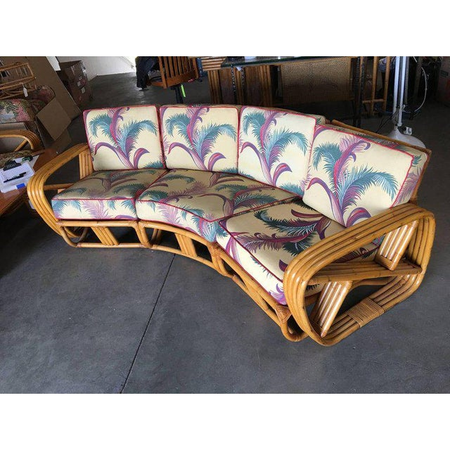 Mid-Century Modern Restored Paul Frankl Four Strand Rattan Four-Seat Corner Sectional Sofa For Sale - Image 3 of 9