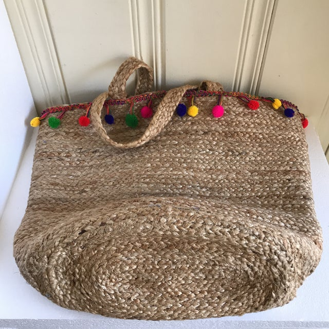 Textile Boho Jute Large Basket Tote For Sale - Image 7 of 12