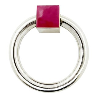 Addison Weeks Porter RIng Pull, Nickel & Pink Jade For Sale