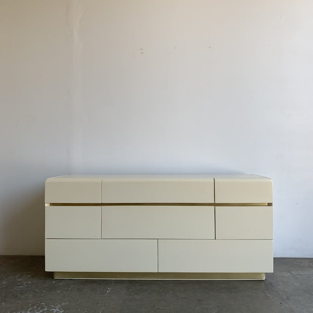 1980s Lacquer and Brass Dresser For Sale - Image 12 of 12