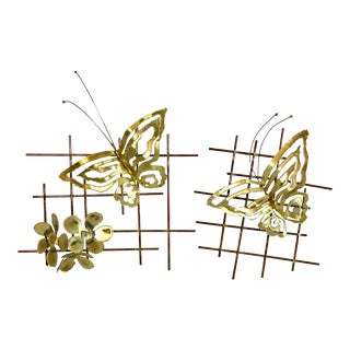 Vintage Brutalist Metal Butterfly Wall Hangings - a Pair For Sale