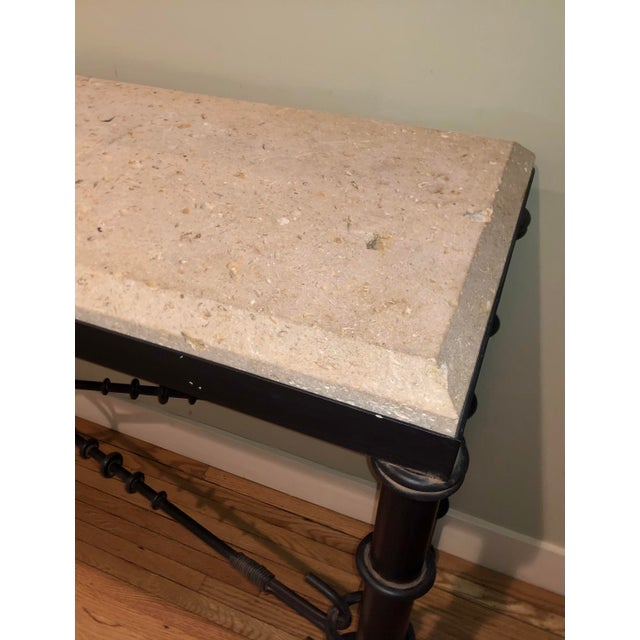 Formations Giacometti Style Formations Texas Shell Stone Travertine Marble Console Table For Sale - Image 4 of 5