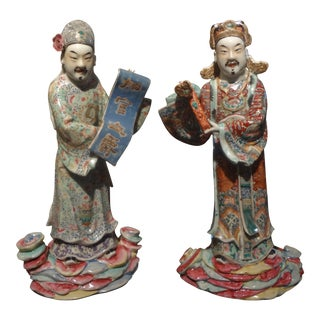 19th Century Chinese Hand Decorated Porcelain Figures-A Pair For Sale