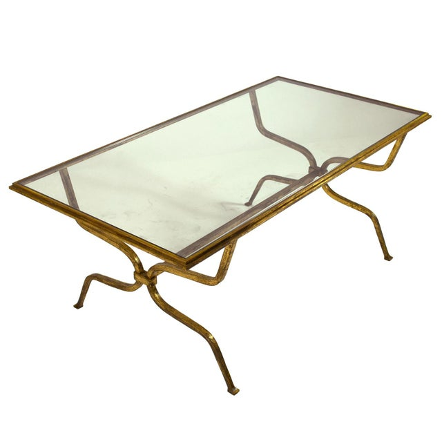 Maison Ramsay Maison Ramsay Gilt-Iron and Glass Coffee Table For Sale - Image 4 of 4