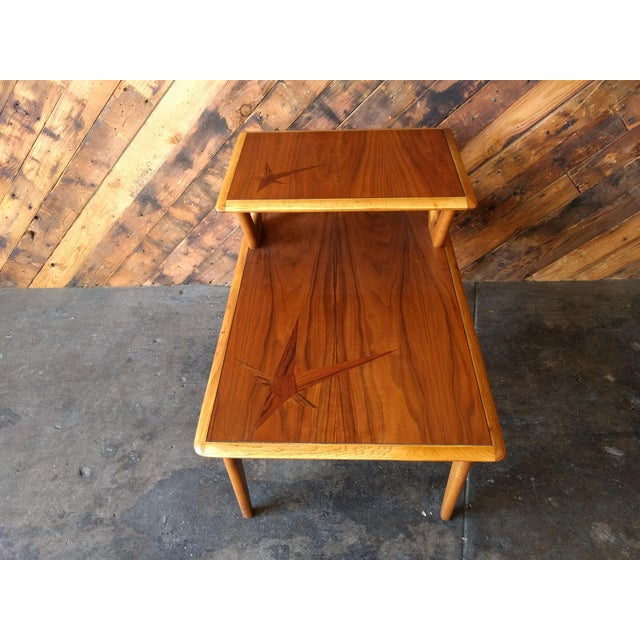 Brown Mid-Century Walnut Lane 2 Tiered Side Table For Sale - Image 8 of 11