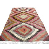 Image of Vintage Turkish Pastel Colored Kilim Rug For Sale