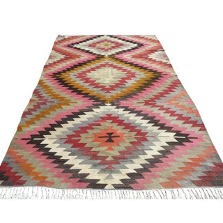 Vintage Turkish Pastel Colored Kilim Rug For Sale