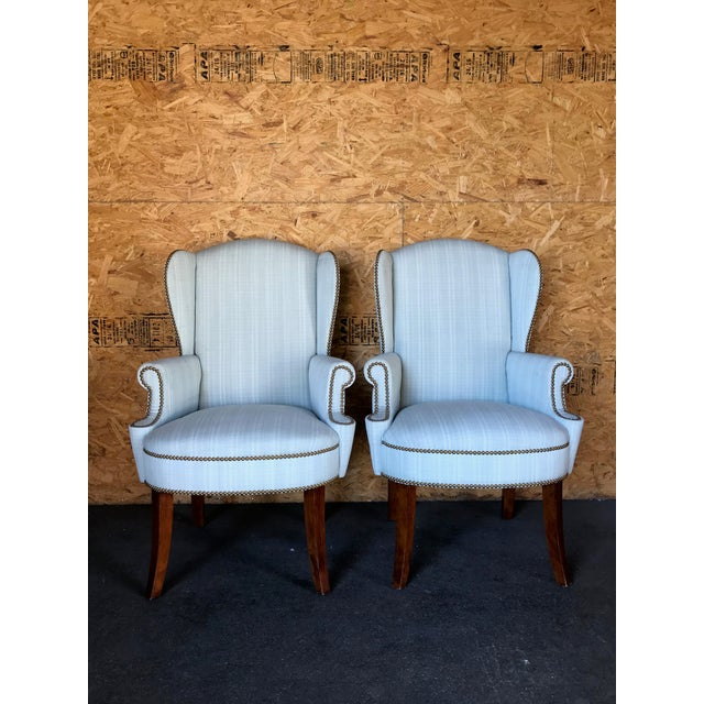 Pair of Wingback Studded Captain Chairs For Sale In San Francisco - Image 6 of 6