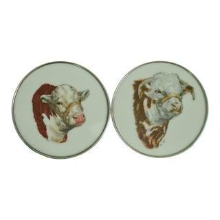 1950s Vintage Frank Vosmansky Milk Glass Sterling Rim 'Bull' Coasters - A Pair For Sale