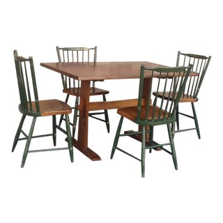 20th Century Country Hitchcock Solid Maple Stenciled Trestle Table & Chairs - 5 Pieces For Sale