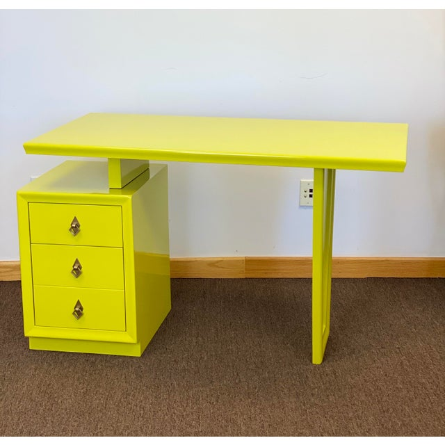 Paint 1920s Vintage Art Deco Lacquered Green Desk For Sale - Image 7 of 9