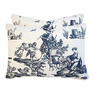 "Custom Tailored Romantic French Toile Feather/Down Pillows 23"" x 16"" - A Pair For Sale"