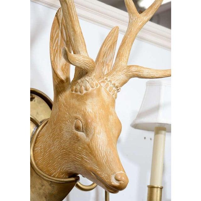 Fantastic Surrealist Pair of Deer Head Sconces For Sale - Image 4 of 4