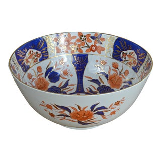 English Imari Style Porcelain Center Bowl For Sale