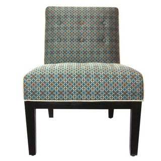 Upholstered Slipper Chair in Geometric Pattern For Sale