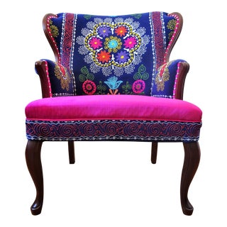 Vintage Boho Chic Suzani Embroidery Pink & Blue Wingback Arm Chair