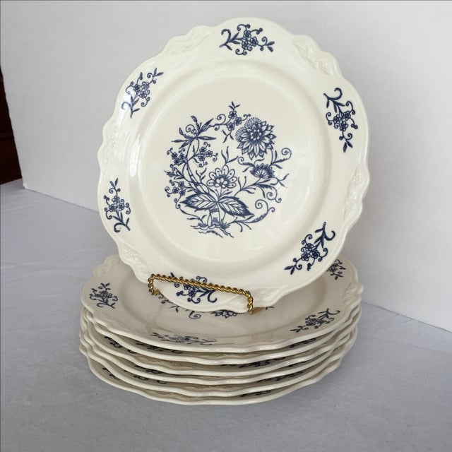 Sheffield Blue Dresden Plates - Set of 7 For Sale - Image 4 of 10