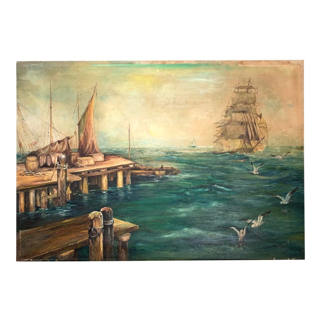 Rustic Vintage Sailing Ship Painting Oil on Canvas Signed by Artist J H Johnson For Sale