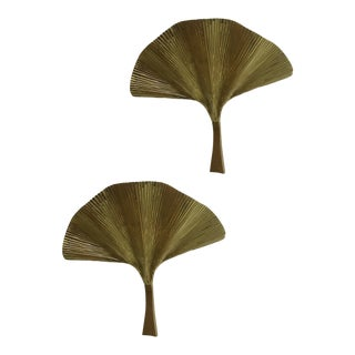 Fan Leaf Motif Gold Metal Wall Sconces - a Pair For Sale
