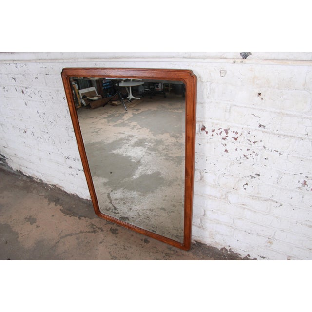 Henredon Henredon Oak Beveled Mirror For Sale - Image 4 of 9