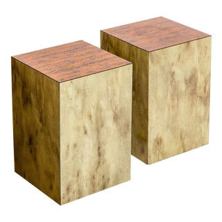 Copper Top Cube Side Tables, a Pair For Sale