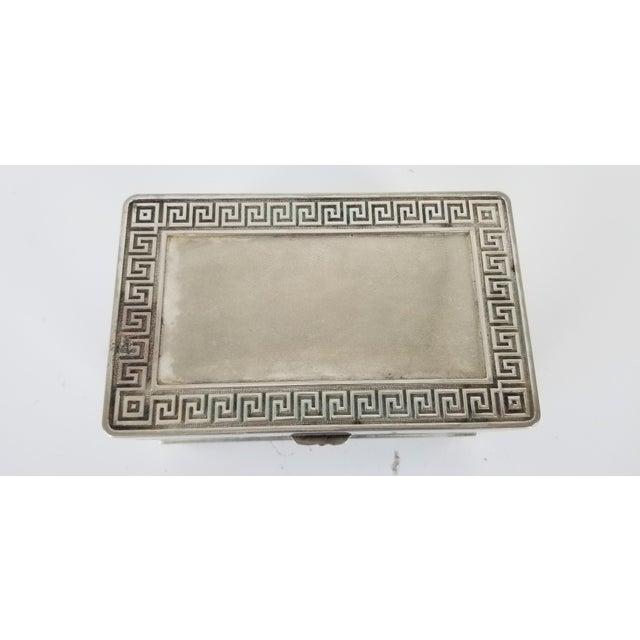 Vintage Vera Lucino Greek Key Design Silver Plate Decorative Box For Sale - Image 4 of 10