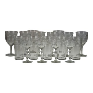 Vintage Etched Glass Glassware - Group of 17 For Sale