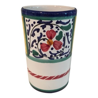 Italian Hand Painted Ceramic Pen & Pencil Holder For Sale