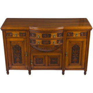 Arts and Crafts Style Carved Walnut Sideboard Buffet For Sale