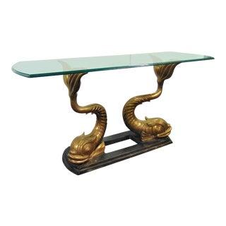 Sculptural Bronze Koi Fish Console Table For Sale