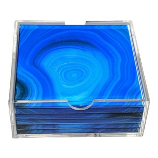 Blue Acrylic Agate Coasters With Translucent Holder - Set of 6 For Sale