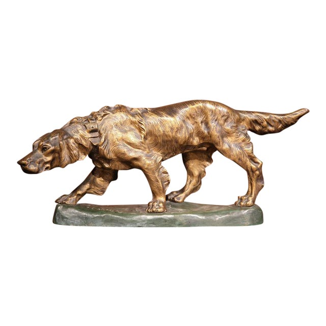 Early 20th Century French Patinated Bronze Hunting Dog Signed T. Cartier For Sale