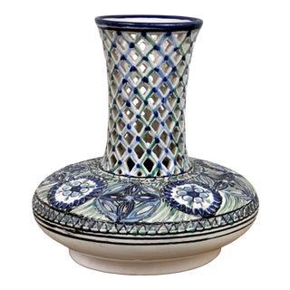 Handpainted Ceramic Decorative Vintage Blue White Vase For Sale