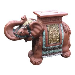 Vintage Terra-Cotta Hand Painted Elephant Side Table