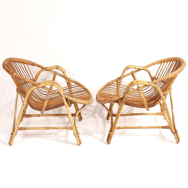 Brown 1960s French Rattan Lounge Chairs - A Pair For Sale - Image 8 of 8