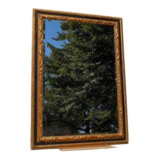 Carver's Guild Beveled Antique Black & Gold Frame Wall Mirror For Sale