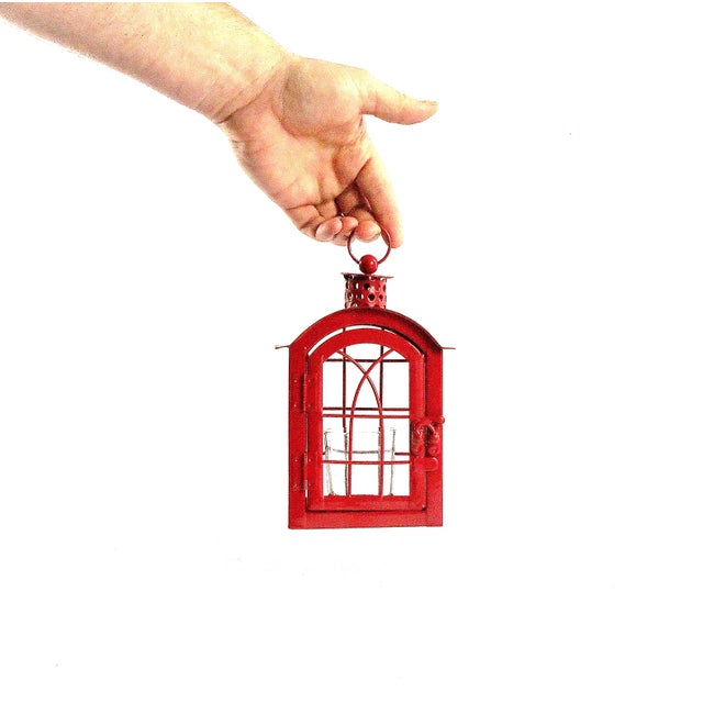 Red Metal Votive Candle Lantern For Sale - Image 9 of 10